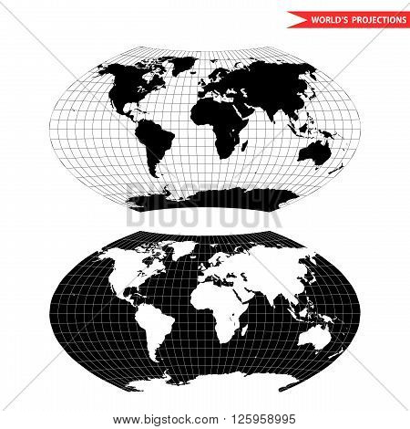 Aitoff world map projection. Black and white world map vector illustration.