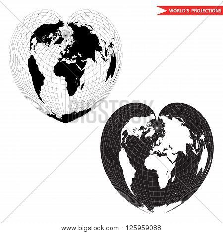 Black and white heart-shaped planet vector illustration. Bonne pseudoconical equal area world map projection. Heart shape world map.