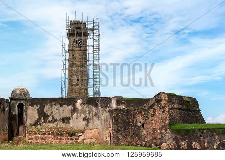Clock Tower in the city of Galle on the restoration.
