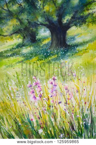 Sunny summer forest with flowers in foreground.Picture created with watercolors.
