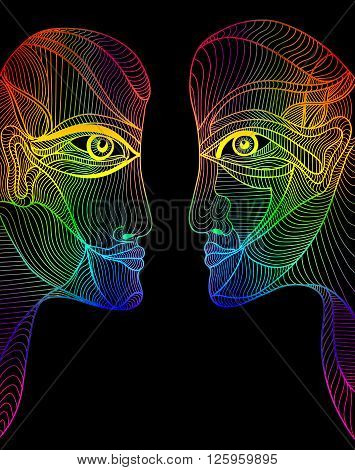 Abstract graphic design rainbow faces. Gay rights and gay marriage design element. Can use for posters cards stickers invitations t-shirt art.