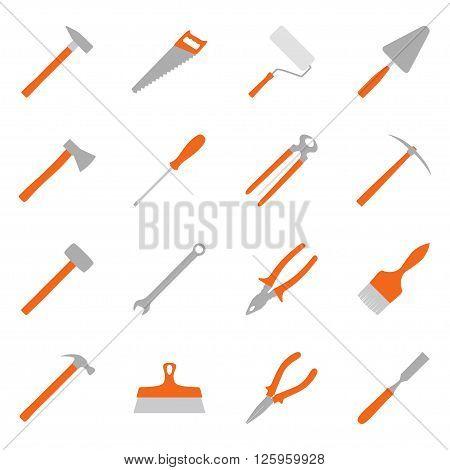 Set of color construction tools, vector illustration