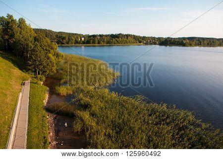 Summer evening near Zarasas lake in Zarasai town Lithuania.
