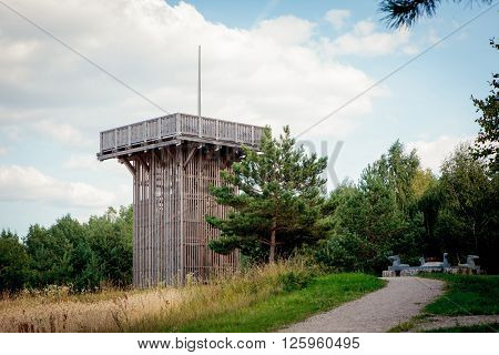 Aukstojas Hill the highest point in Lithuania (293.84 m) located in the Medininkai Highlands 24 kilometres southeast of Vilnius Ltithuania