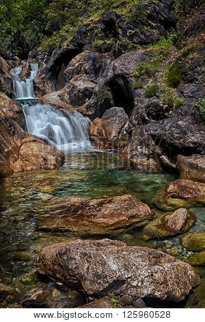 Mountain river and waterfalls in Sapadere Canyon in Turkey