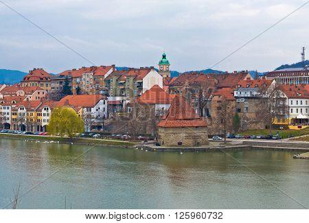 City of Maribor on Drava coast Slovenia