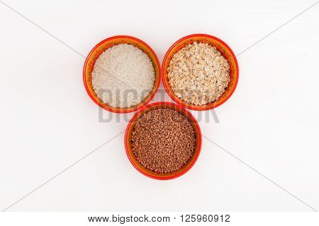 Cereals buckwheat rice cereal in the bowls