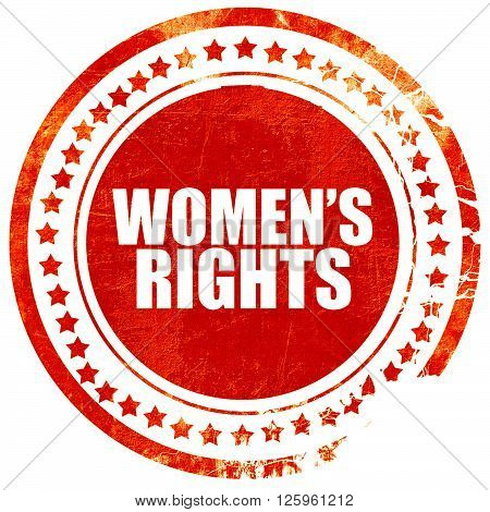 women's rights, isolated red stamp on a solid white background