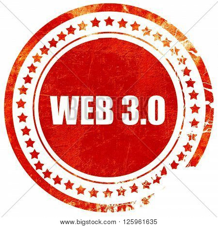 web 3.0, isolated red stamp on a solid white background