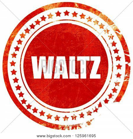 waltz dance, isolated red stamp on a solid white background