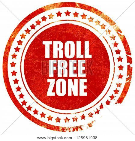 troll free zone, isolated red stamp on a solid white background