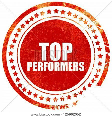 top performers, isolated red stamp on a solid white background