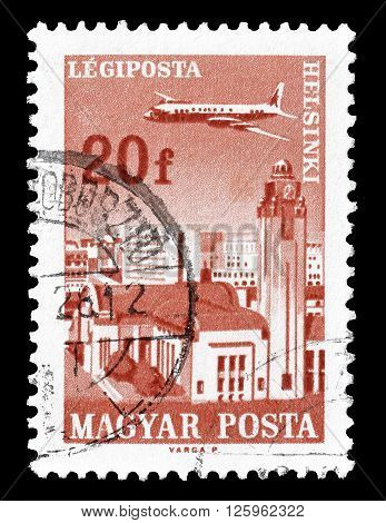 HUNGARY - CIRCA 1967 : Cancelled postage stamp printed by Hungary, that shows Plain over Helsinki.