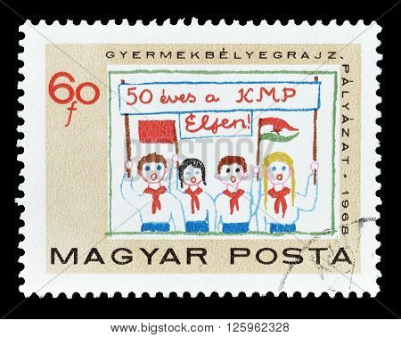 HUNGARY - CIRCA 1968 : Cancelled postage stamp printed by Hungary, that shows children with banner and flags.