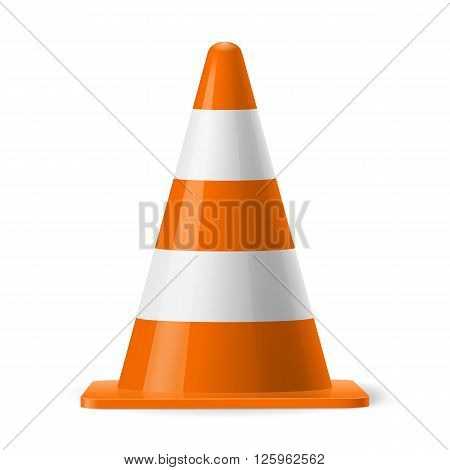 White and orange road cone. Sign used to provide safe traffic during road construction