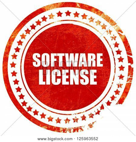 software license, isolated red stamp on a solid white background