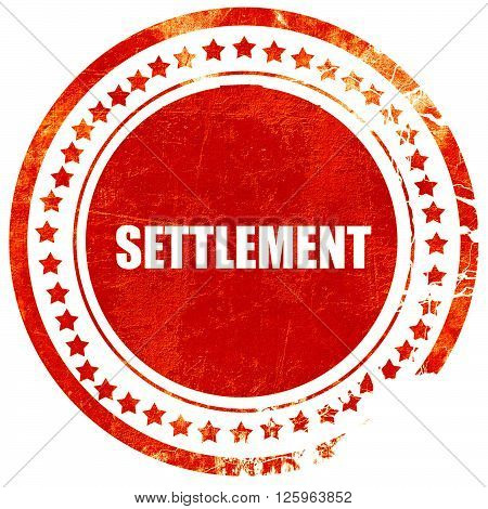 settlement, isolated red stamp on a solid white background