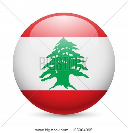 Flag of Lebanese Republic as round glossy icon. Button with flag design