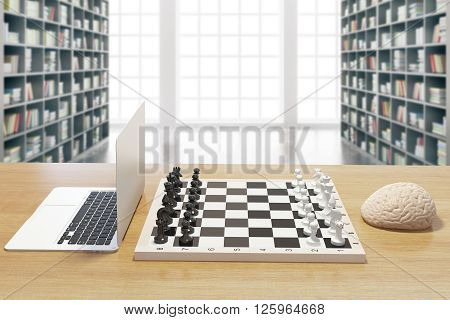 Computer vs human brain concept with two of the previously mentioned playing chess in library. 3D Rendering