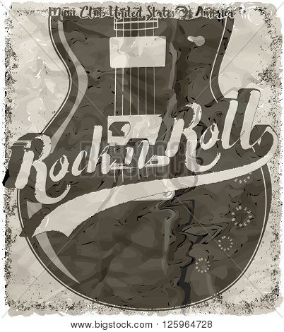 Rock'n Roll poster guitar graphic design tee vector art