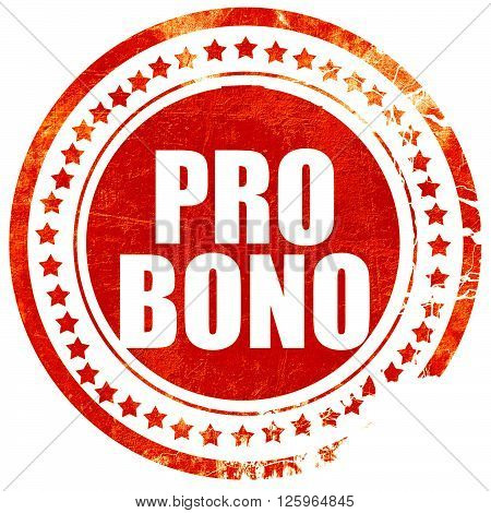 pro bono, isolated red stamp on a solid white background