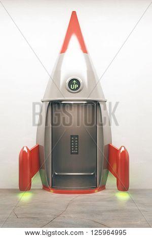Success concept with open door of rocket elevator going up. 3D Render
