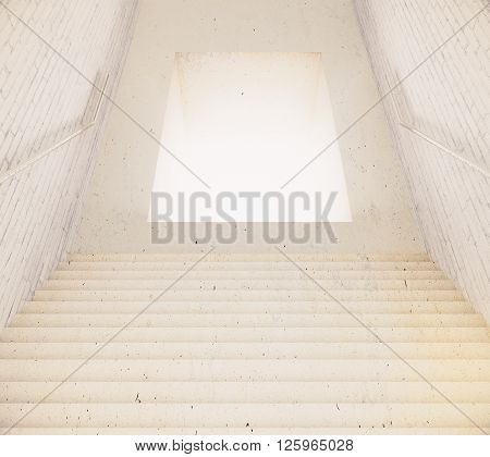 Stairway leading to illuminated hole. 3D Rendering