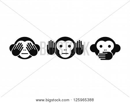 See no Evil Hear no Evil Speak no Evil monkey icon set. Simple modern vector illustration.