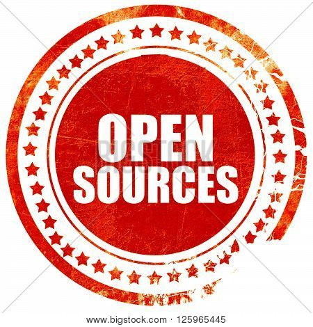 open sources, isolated red stamp on a solid white background