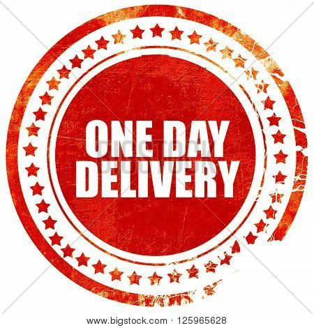 one day delivery, isolated red stamp on a solid white background