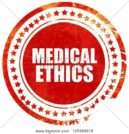 medical ethics, isolated red stamp on a solid white background