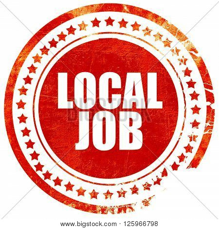 local job, isolated red stamp on a solid white background