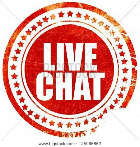 live chat, isolated red stamp on a solid white background