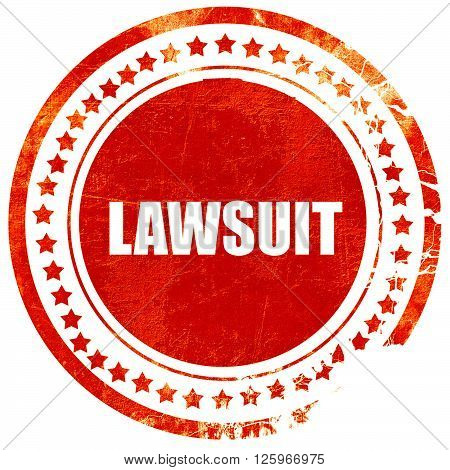 lawsuit, isolated red stamp on a solid white background