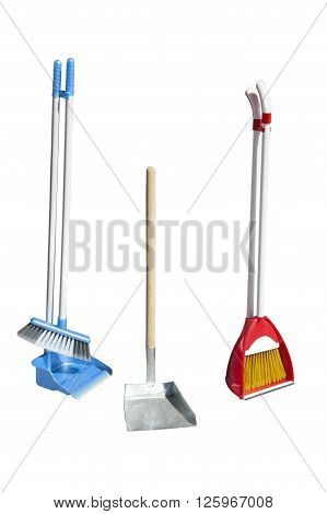 set for sweeping. Set brush with dustpan isolated on white background