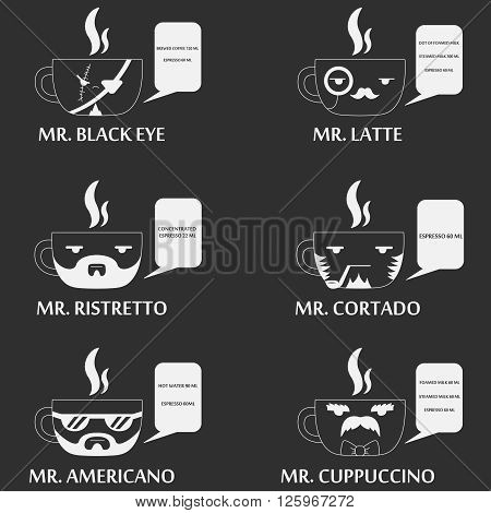 set of coffe cup with human faces - pirate, sailor, steampunk man etc