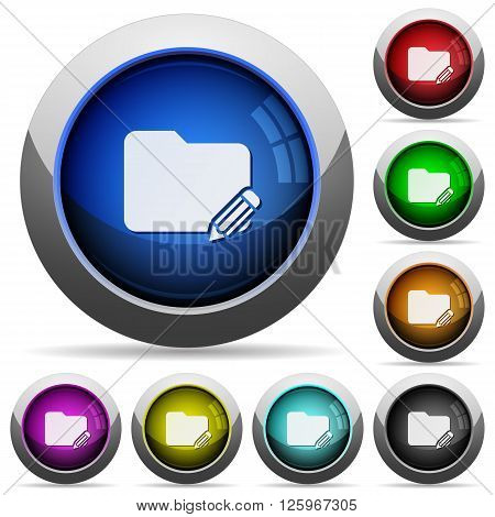 Set of round glossy folder edit buttons. Arranged layer structure.