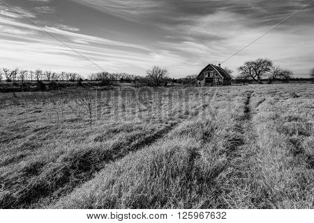 Rural Oklahoma Farmland with Abanonded Barn or Farm House