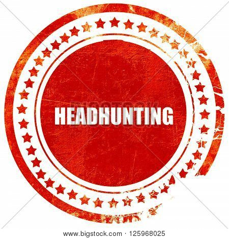 headhunting, isolated red stamp on a solid white background
