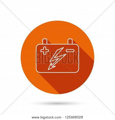 Accumulator icon. Electrical battery sign. Round orange web button with shadow.