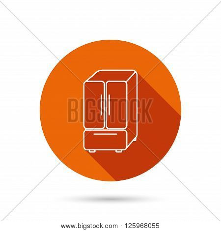 American fridge icon. Refrigerator sign. Round orange web button with shadow.