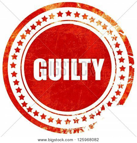 guilty, isolated red stamp on a solid white background