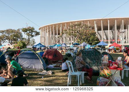 Brasilia, Brazil April 16th 2016 Pro Dilma Rousseff supporters camped outside the Mané Garrincha Stadium