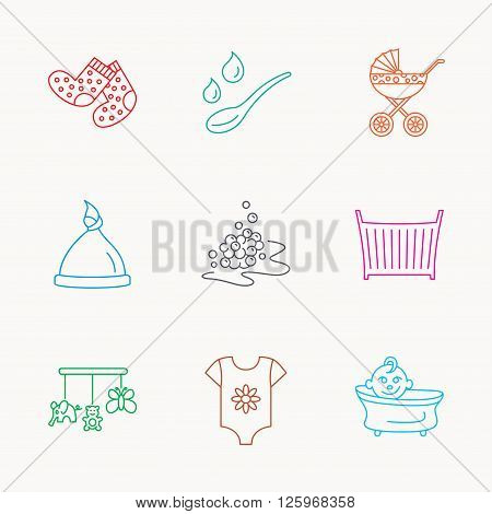 Baby clothes, bath and hat icons. Pram carriage, spoon with drops linear signs. Socks, baby toys and bubbles flat line icons. Linear colored icons.