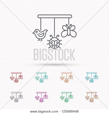 Baby toys icon. Butterfly, ladybug and bird sign. Entertainment for newborn symbol. Linear icons on white background.