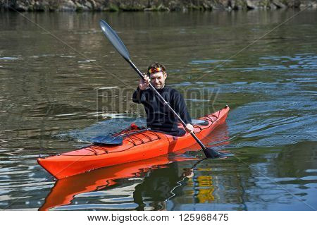 Sports Cheerful Man In Red Kayak01