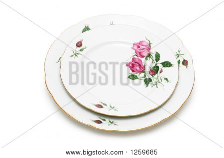 Two Plates Isolated On The White Background