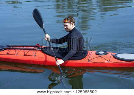Sports Cheerful Man In Red Kayak02