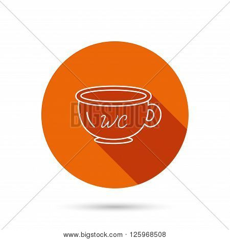 Baby wc pot icon. Child toilet sign. Washroom or lavatory symbol. Round orange web button with shadow.