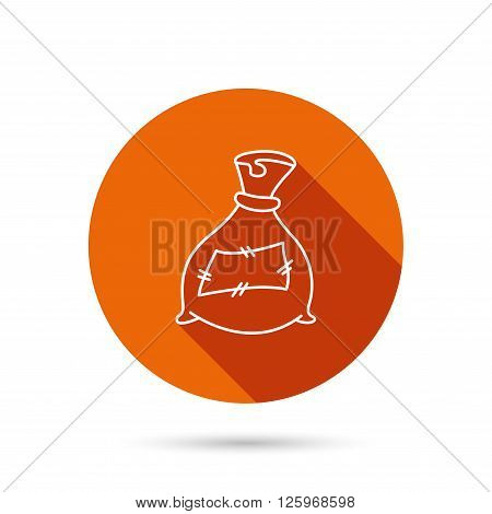Bag with fertilizer icon. Fertilization sack sign. Farming or agriculture symbol. Round orange web button with shadow.